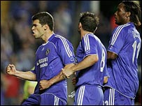 Michael Ballack celebrates scoring Chelsea's second from the spot