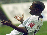 Striker Leon Knight celebrated a brace of Swansea goals