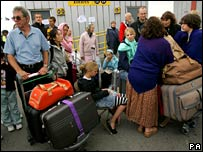 Passengers waiting at Heathrow during August's security alert