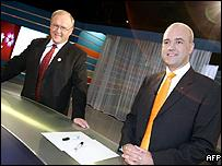 Leader of Swedish Moderate Party Fredrik Reinfeldt (right) and Prime Minister Goran Persson prior to their televised debate