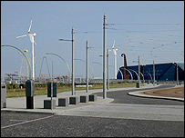 An artist's impression of the planned wind turbines