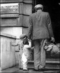 Man and children seek refuge at the Jews Temporary Shelter. Photo: Jewish Museum
