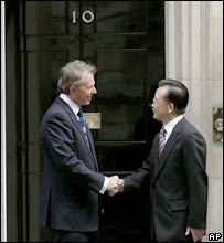 Mr Blair meets Mr Wen in Downing St