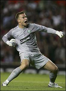 Celtic's Artur Boruc celebrates after Jan Vennegoor of Hesselink