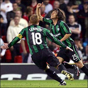 Celtic's Shunsuke Nakamura is congratulated after scoring the equaliser