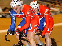 Tandem pairing Barney Storey and Anthony Kappes. Pic: British Cycling