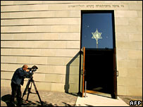 A cameraman films the entrance of Dresden's New Synagogue, where rabbis are to be ordained.