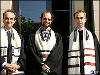 Rabbis Daniel Alter (left) from Germany, Malcom Matitiani (centre) from South Africa and Thomas Kucera from Czech Republic after ordination