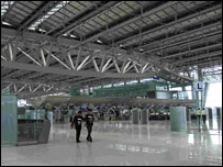The vast lobby of the new airport