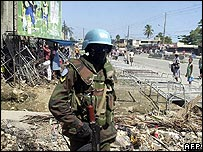 UN peacekeeper on the streets of the Haitian capital, Port-au-Prince