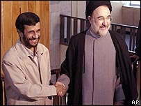 Outgoing President Khatami greets incoming hardliner Mahmoud Ahmadinejad