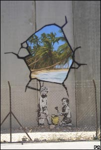 A Banksy painting on Israel's security barrier