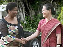 Congress Party President Sonia Gandhi shakes hands with South African Deputy President Phumzile Mlambo-Ngcuka