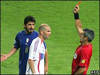 France's Zinedine Zidane is sent off in the 2006 World Cup final