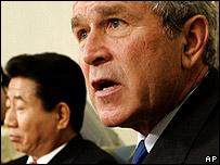 President Bush with President Roh of South Korea