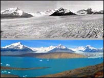 Images of Patagonian glacier, 30 years ago and today, from film An Inconvenient Truth
