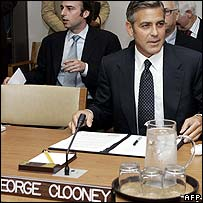 George Clooney addresses the UN Security Council on Thursday
