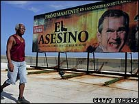 Poster criticising US President George Bush in Havana