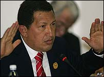 Venezuelan President Hugo Chavez at the Non-Aligned Movement conference in Havana