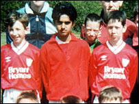 Omar Khyam in his school football team in 1995 (pic: John Connor Press Associates)
