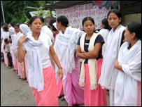Women protest in Manipur against the law