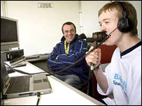 A young Your Game participant has a go at commentating