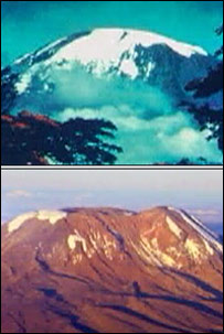 Mount Kilimanjaro 30 years ago and this year (from movie An Inconvenient Truth)