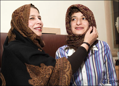 Two women - one Muslim, one Jewish - wear headscarves