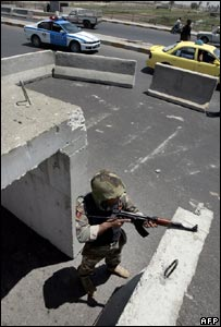 An Iraqi soldier at a checkpoint in Baghdad