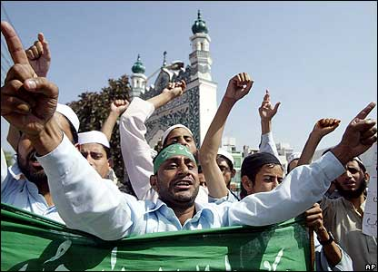 Muslim protestors shout slogans against the Pope at a rally in Jammu, India