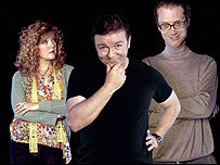Ashley Jensen, Ricky Gervais and Stephen Merchant in Extras