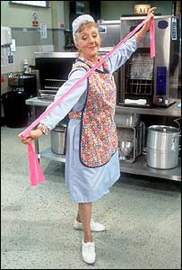 Thelma Barlow as Dolly in Dinner Ladies