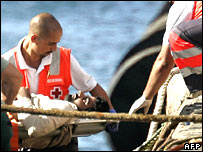 Red Cross officials help a sick migrant off the boat