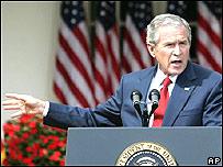 George W. Bush, presidente de EE.UU. en reuda de prensa en la Casa Blanca