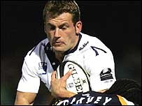 Sale wing Mark Cueto takes on the Worcester defence