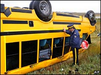 Crashed bus in Canada