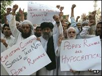 Muslims at a rally to condemn the Pope's remarks, Islamabad, Pakistan
