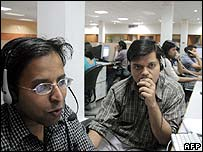 Indian workers in a call centre