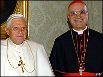 Pope Benedict (left) and Vatican Secretary of State Cardinal Bertone