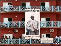 Picture of the Gambian President Yahya Jammeh at the media centre building in Banjul, Gambia
