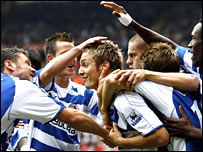 Kevin Doyle is congratulated by his Reading team-mates