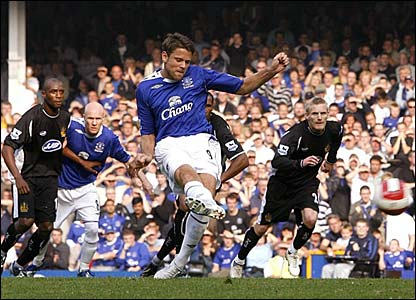 James Beattie scores a penalty for Everton
