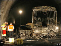 Burnt out bus from crash in Viamala tunnel, Switzerland