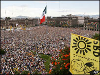Mass rally for Andres Manuel Lopez Obrador in Mexico City