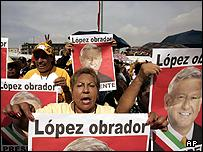 Supporters of Andres Manuel Lopez Obrador at the Zocalo plaza, Mexico City