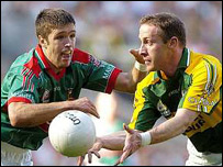 Kerry's Tommy Griffin (right) and Mayo's Pat Harte