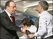 Liverpool boss Rafael Benitez (left) and Chelsea manager Jose Mourinho shake hands after the game