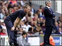 Manchester City manager Stuart Pearce (left) and Blackburn boss Mark Hughes