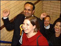 Former MP Parmjit Singh Gill and now frontbencher Sarah Teather in 2004