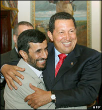 President Hugo Chavez (R) and Mahmoud Ahmadinejad